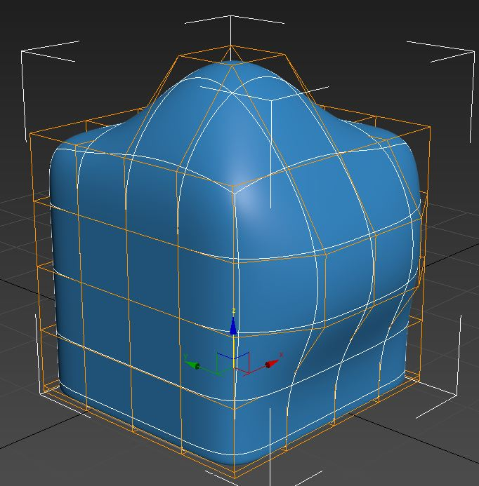 turbo smooth 3ds Max con attivo show cage
