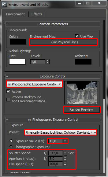 exposure control 3ds MAx