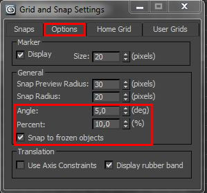 Angle snap e Percent snap in 3ds Max