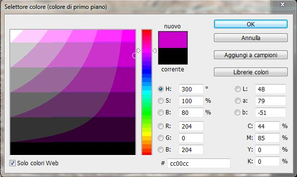 Photoshop colori web